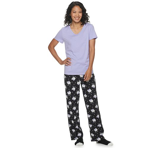 Women's Petite Croft & Barrow® 3 Piece Short Sleeve Pajama Set with Sock