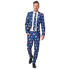 Men's Suitmeister Slim-Fit USA Stars and Stripes Americana Suit & Tie Set