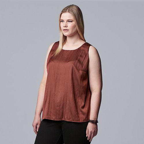 Women's Plus Size Simply Vera Vera Wang Crinkle Split-Back Tank