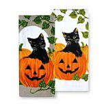 Celebrate Halloween Together Black Cat Pumpkin Kitchen Towel 2-pk.