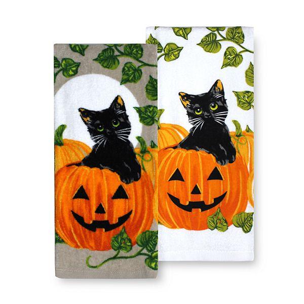 Celebrate Halloween Together Black Cat Pumpkin Kitchen Towel 2 Pk