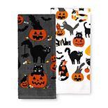 Celebrate Halloween Together Black Cat Kitchen Towel 2-pk.