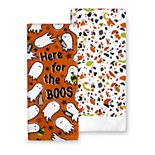 """Celebrate Halloween Together """"Here for the Boos"""" Kitchen Towel 2-pk."""