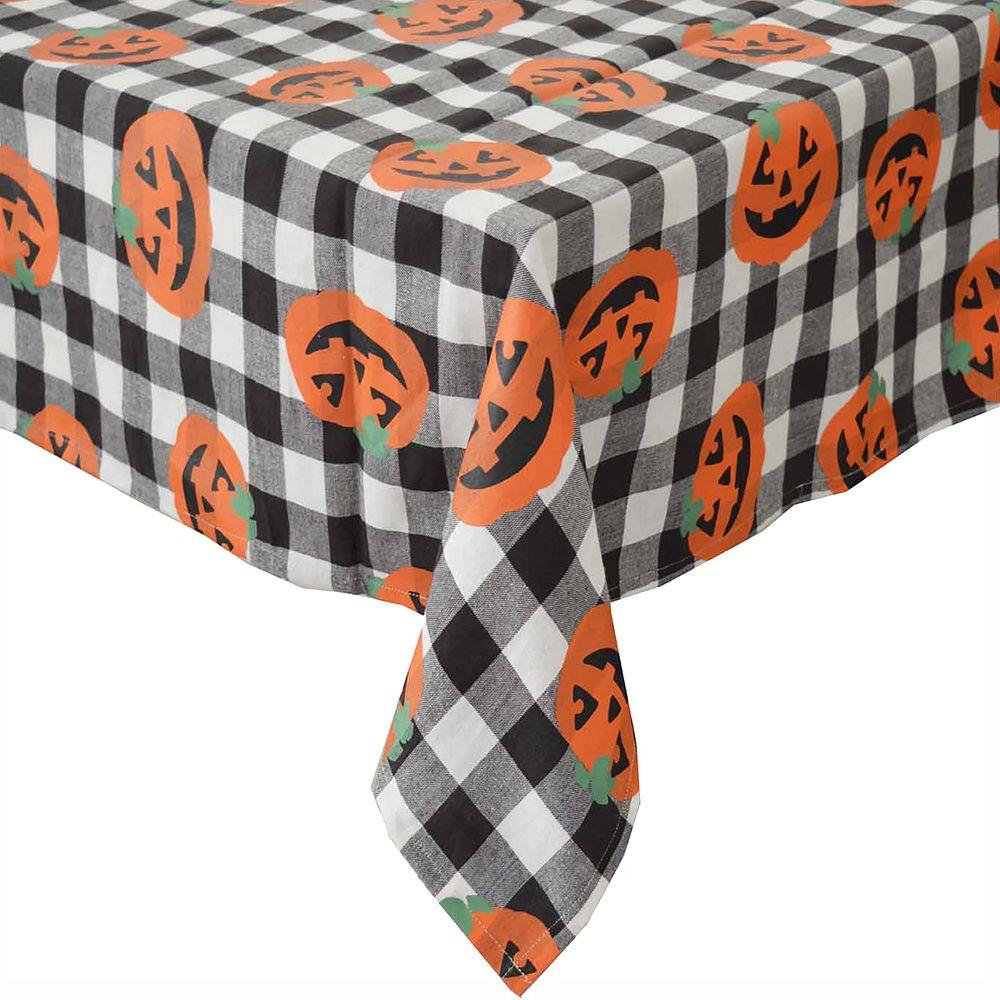Celebrate Halloween Together Gingham Pumpkin Tablecloth