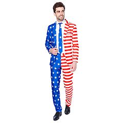 Men's OppoSuits Slim-Fit USA Flag Americana Novelty Suit & Tie Set