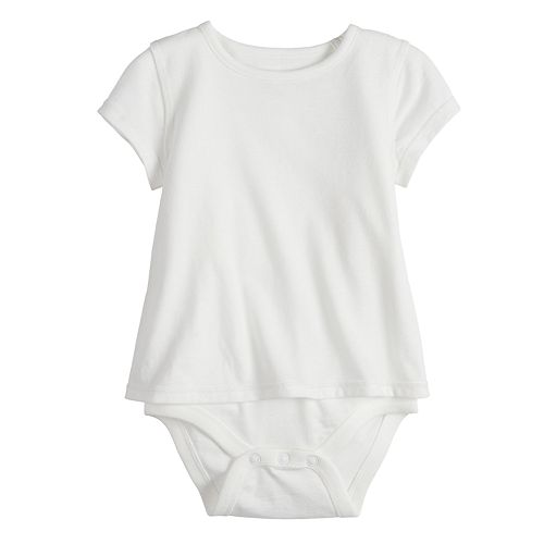 Baby Girl Jumping Beans® Adaptive Short-Sleeve Mock-Layer Bodysuit