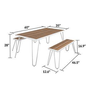 Novogratz Poolside Paulette Outdoor Dining Table & Bench 3-piece Set