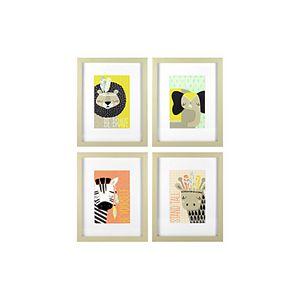 Linden Ave Explorer Animals Framed Wall Decor 4-piece Set