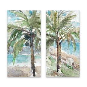 Artissimo Calm Palm Trees Canvas Wall Art 2-Piece Set