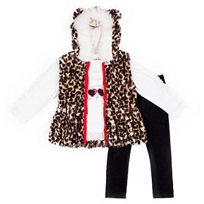 Girls 4-6x Little Lass 3-Piece Faux-Fur Vest Set