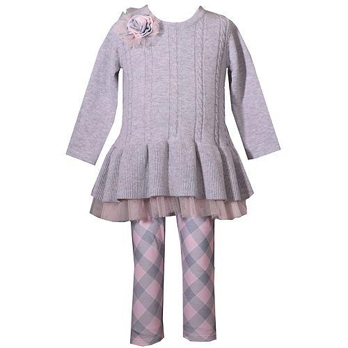 Girls 4-12 Bonnie Jean Cable-Knit Sweater & Plaid Leggings Set