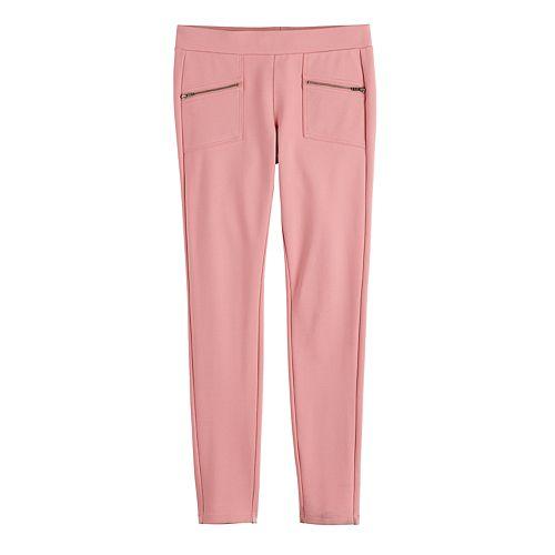 Girls 7-16 & Plus Size SO® Zipper Pull-on Ponte Pants