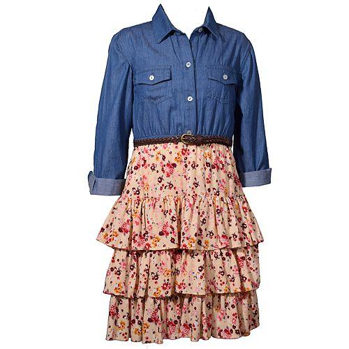 Girls 4-6x Bonnie Jean Tiered Shirtdress