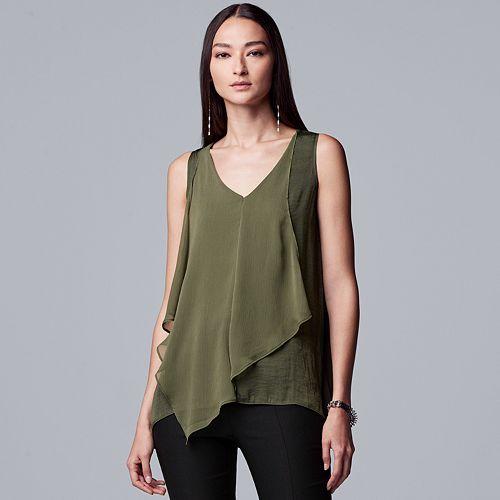 Petite Simply Vera Vera Wang Handkerchief Tanks