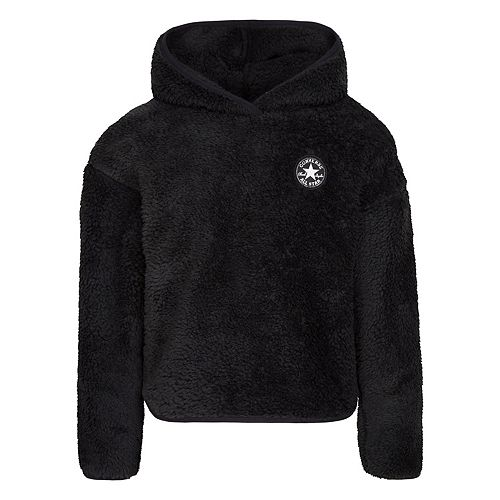 Girl's 7-16 Converse Black Soft Sherpa Pullover Hoodie