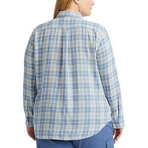 Plus Size Chaps Crinkle Button-Down Shirt