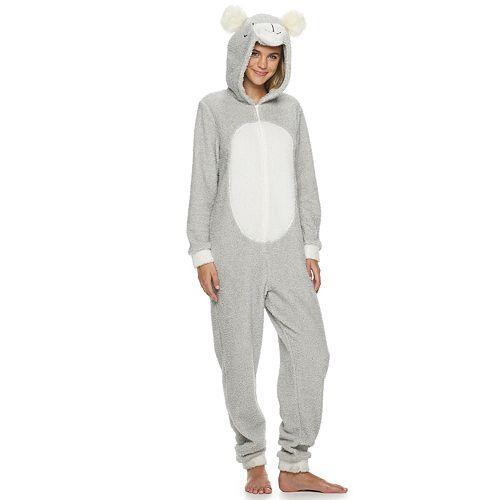 Juniors' Peace, Love & Dreams Bear One-Piece Pajamas