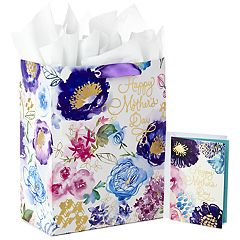 Hallmark Large Gift Bag with Tissue Paper and Mothers Day Card (Purple Flowers)