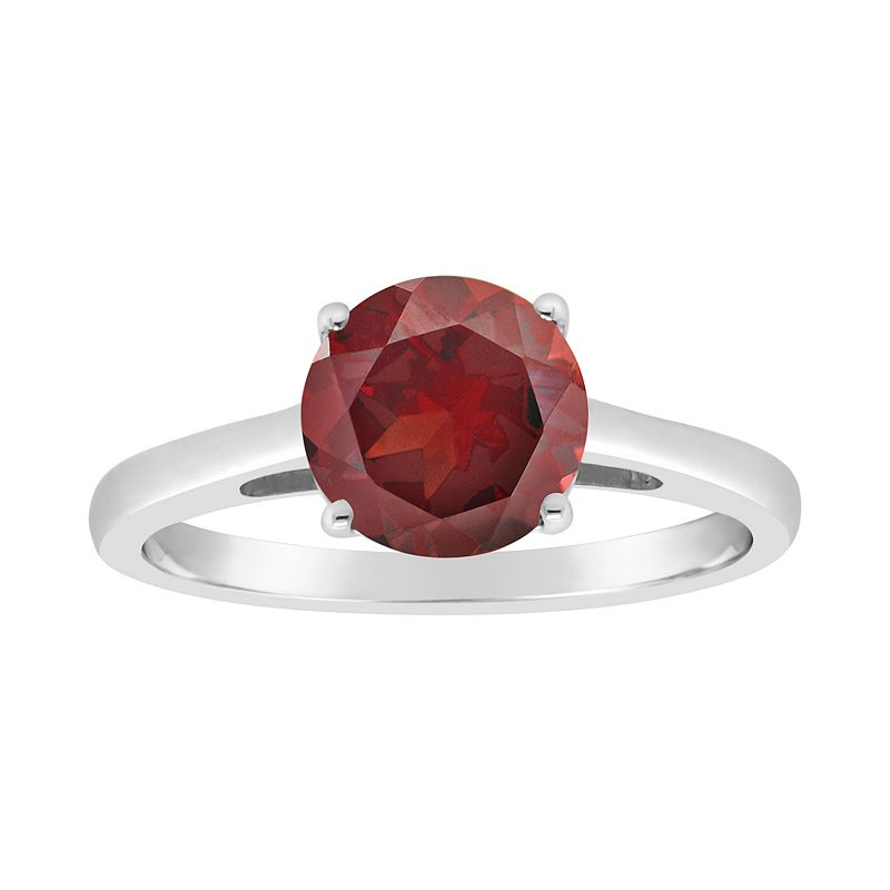 Sterling Silver Garnet Solitaire Ring. Women's. Size: 5. Red