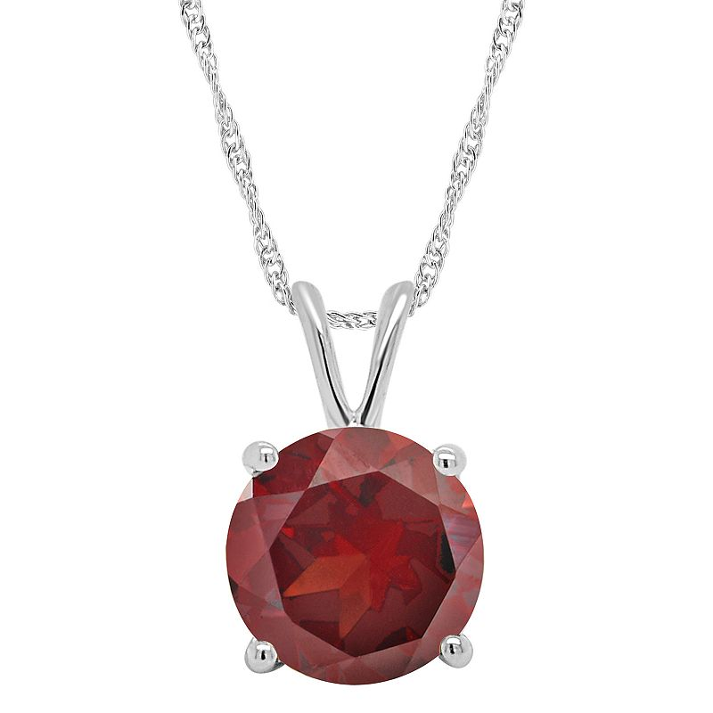 """Sterling Silver Garnet Solitaire Pendant Necklace, Women's, Size: 18"""", Red"""