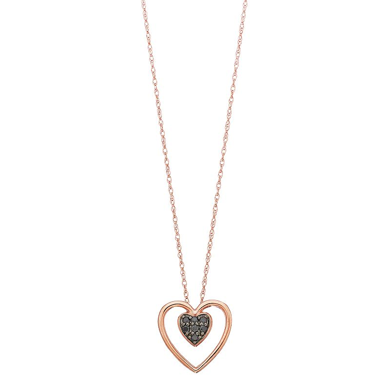 """Simply Vera Vera Wang 10k Gold 1/10 Carat T.W. Black Diamond Double Heart Pendant Necklace. Women's. Size: 18"""""""