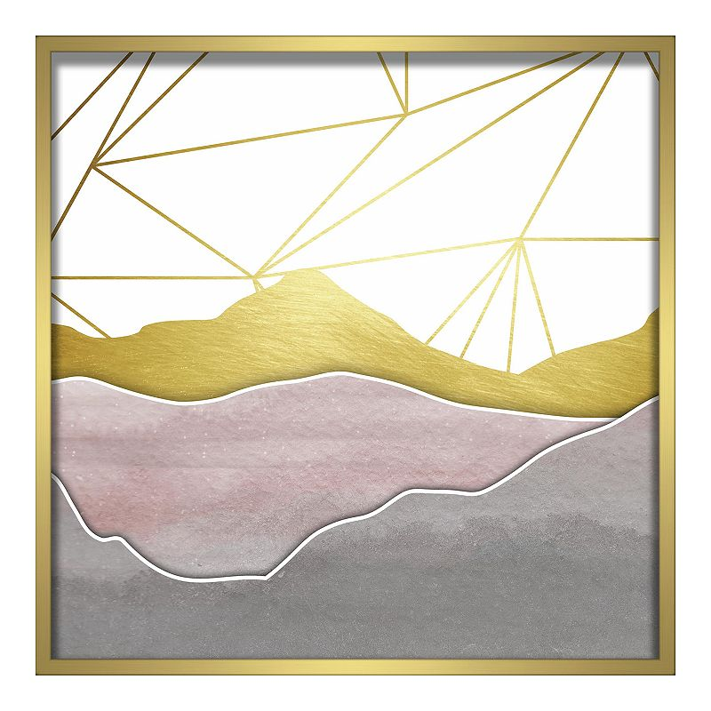 Linden Ave Watercolor Mountains Shadowbox Wall Decor. Pink. 24X24