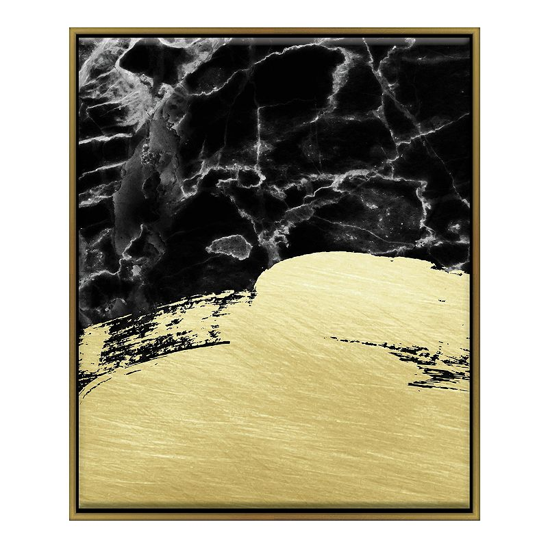 Linden Ave Faux Marble Brushstroke Framed Wall Decor. Black. 16X20