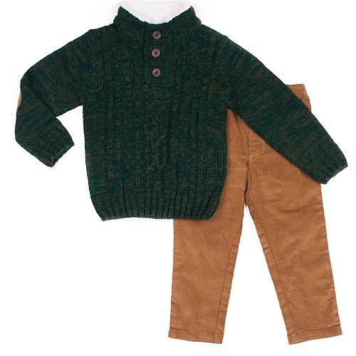 Baby Boy Little Lad 2 Piece Pullover Knit Sweater & Corduroy Pants Set