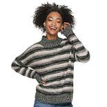 Juniors' Pink Republic Mock Neck Drop Shoulder Stripped Sweater