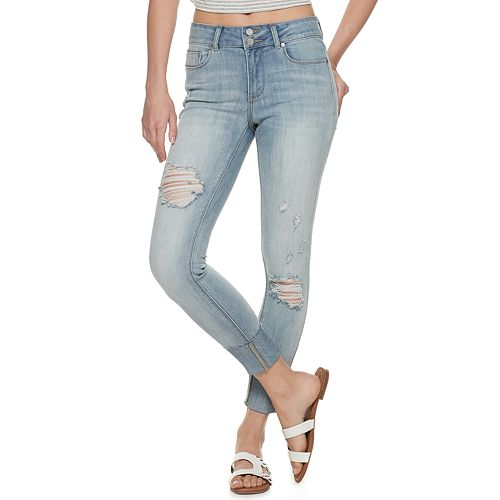 Juniors' Indigo Rein Mid-Rise Recycled Double Button Big Cuff