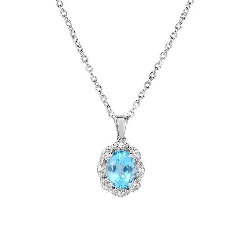 """Sterling Silver Gemstone & White Topaz Oval Halo Pendant. Women's. Size: 18"""". Blue"""