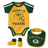"Baby Boy NFL Green Bay Packers ""Tackle"" Bodysuit, Bib, & Booties Set"