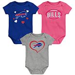 "Girls NFL Buffalo Bills ""Champ"" Bodysuit (3-Pack)"