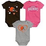 "Baby Girl NFL Cleveland Browns ""Champ"" Bodysuit 3-Pack"