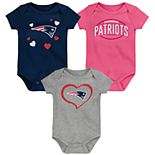 "Girls NFL New England Patriots ""Champ"" Bodysuit (3-Pack)"