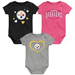 "Girls NFL Pittsburgh Steelers ""Champ"" Bodysuit (3-Pack)"