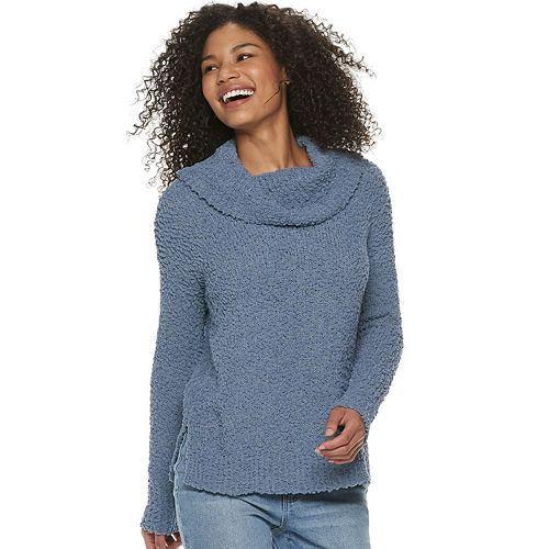 Juniors' Pink Republic Cowlneck Pullover Sweater