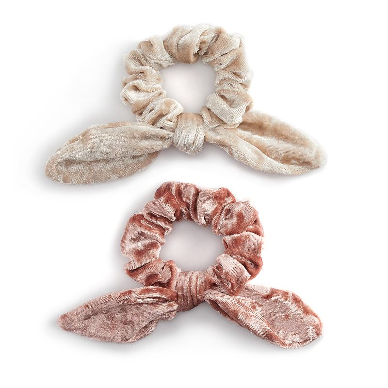 Women's Velvet Bow Scrunchies (2 Pack). Pink