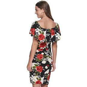 Juniors' Almost Famous Floral Off-the-Shoulder Ruffle Dress