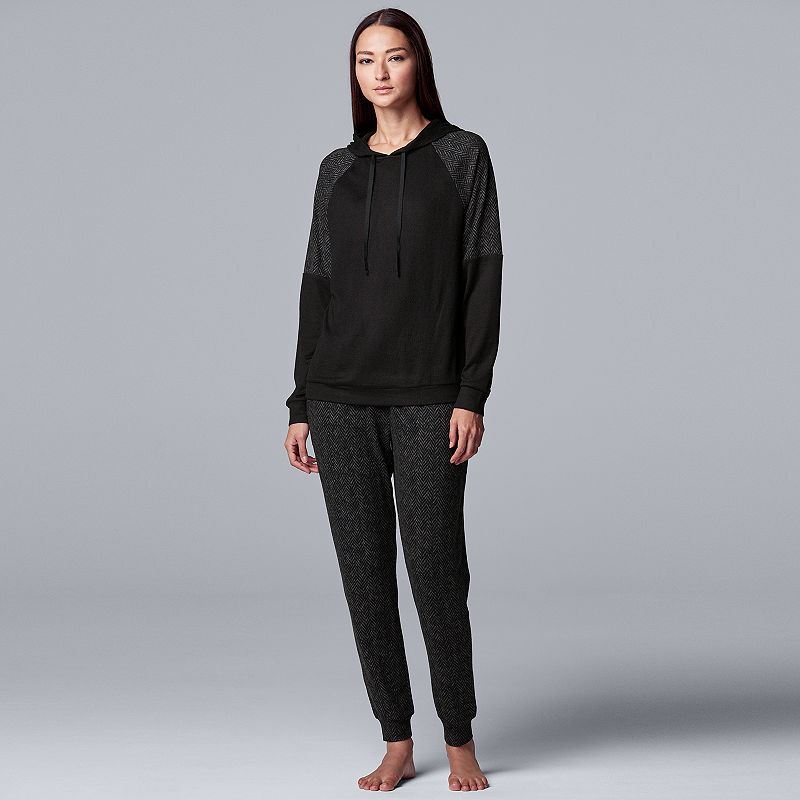 Women's Simply Vera Vera Wang Missy Brushed Sweater Hooded Top and Jogger. Size: Medium. Oxford