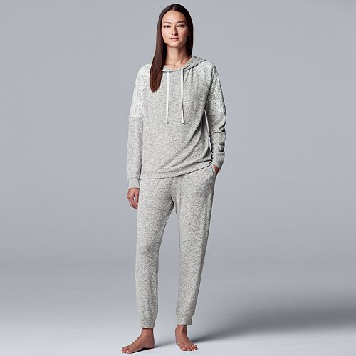 Women's Simply Vera Vera Wang Missy Brushed Sweater Hooded Top and Jogger