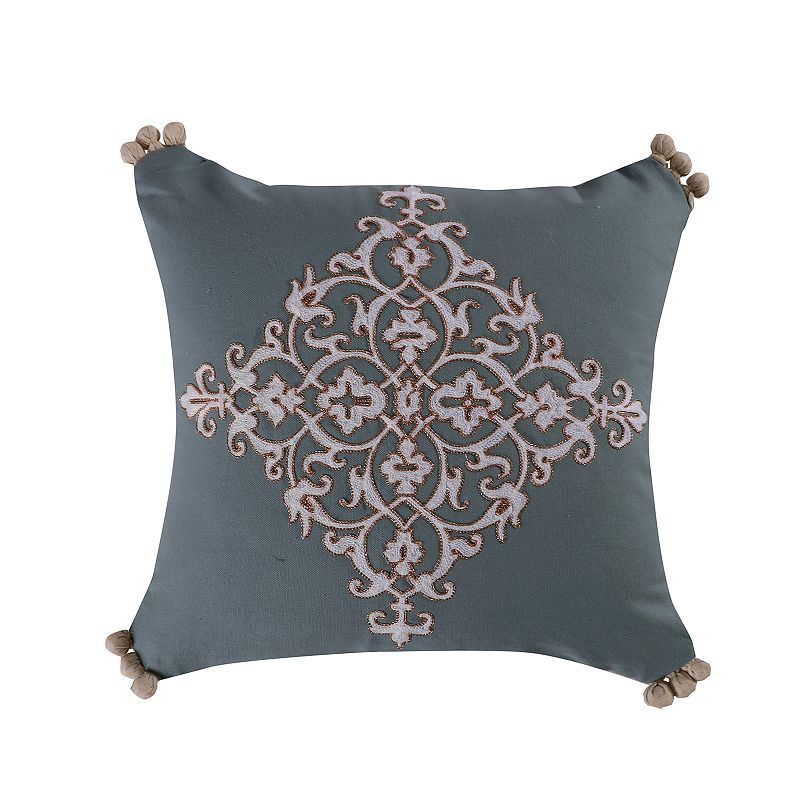 Levtex Marisol Pompom Pillow. Blue. Fits All