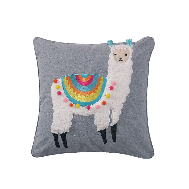 Levtex Llama Pom Pom Pillow. Grey. Fits All