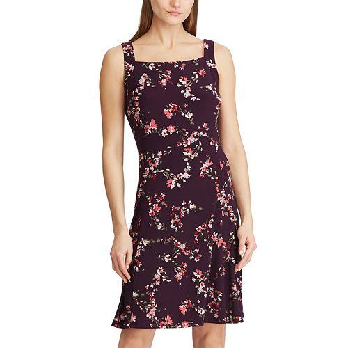 Petite Chaps Floral Squareneck Dress