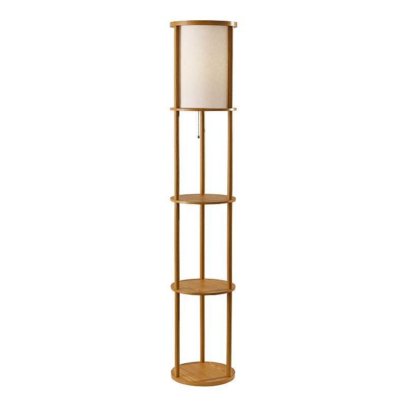 ADESSO Stewart Round Floor Lamp. Beig/Green