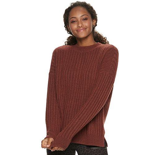 Juniors' Pink Republic Long Sleeve Mock Neck Laceup Back Sweater