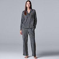 Simply Vera Vera Wang Long Sleeve Fleece Notch Collar Pajama Set Deals