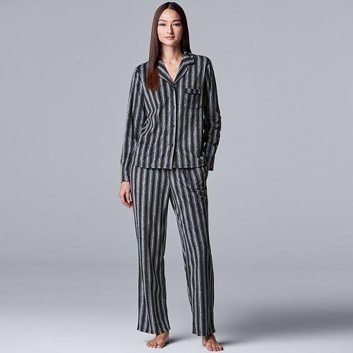Women's Simply Vera Vera Wang Long Sleeve Fleece Notch Collar Pajama Set