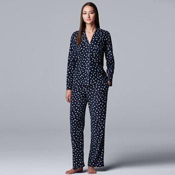 Simply Vera Vera Wang Long Sleeve Fleece Notch Collar Women's Pajama Set
