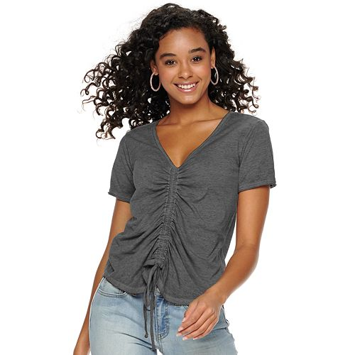 Juniors' SO® Cinched Front Burnout Tee